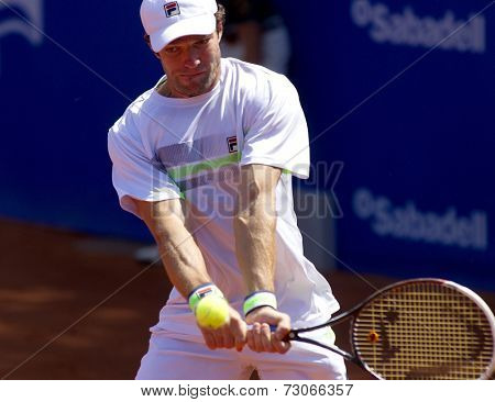 BARCELONA - APRIL, 24: Russian tennis player Teymuraz Gabashvili in action during a match of Barcelona tennis tournament Conde de Godo on April 24, 2014 in Barcelona