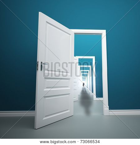 Long way of opened doors with man at the end