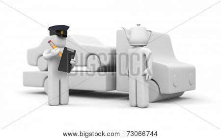 Police officer towing auto of dummy head driver