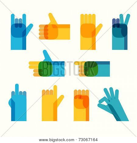 Multicolor creative hands icon set. Vector illustration
