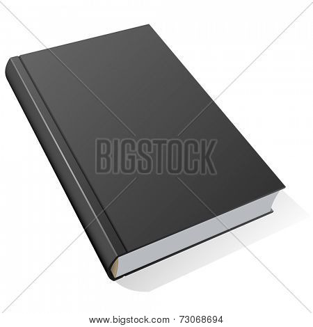 Book with black hard cover isolated on white background.