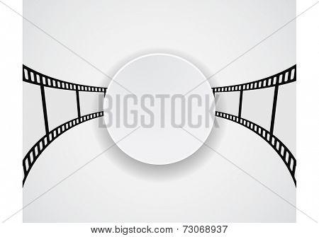 film strip film roll round banner design