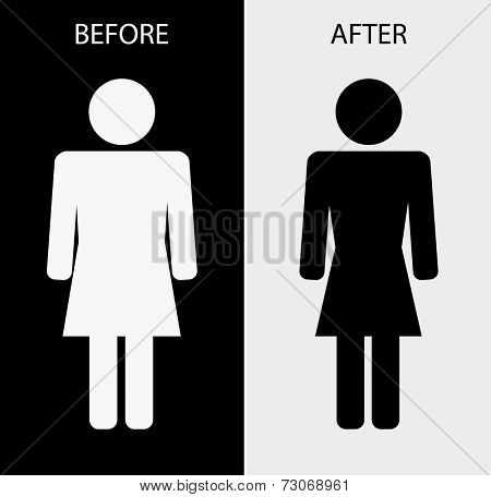 icon woman fat slim - weight loss concept design