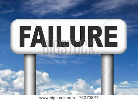 big failure ends in disaster fail exam test or other attempt failing examination is a disappointment