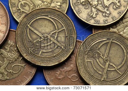 Coins of the Czech Republic. Medieval clocks depicted in Czech twenty korunas coins. Limited edition dedicated to the Millennium.
