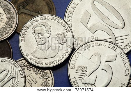 Coins of Ecuador. Ecuadorian author and essayist Juan Montalvo depicted in the Ecuadorian centavo coins.