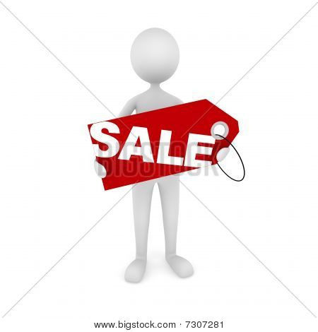 Man Holding Sale Tag