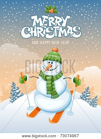 Christmas greeting card with cute snowman skier on winter landscape