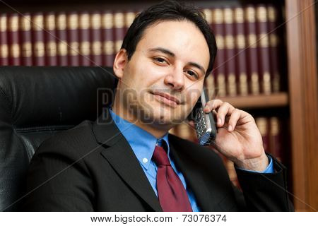 Smiling lawyer talking on the phone