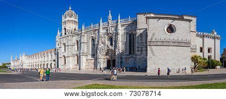Lisbon, Portugal. August 24, 2014: Jeronimos monastery. Classified as UNESCO World Heritage it stands as a masterpiece of the Manueline art.