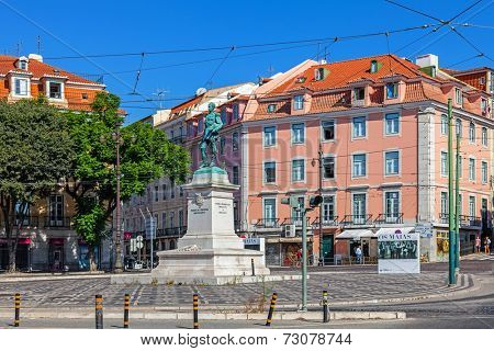 Lisbon, Portugal. August 31, 2014:  Duque da Terceira Square with the statue of the duke, in Cais do Sodre. A well known Lisbon nightlife spot.