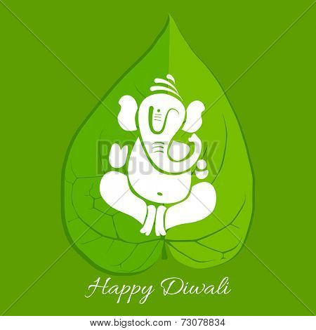 Vector beautiful betel leaf with lord ganesh illustration