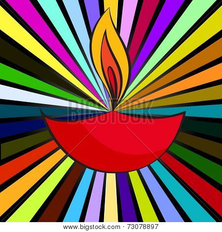 Vector attractive background of diwali diya