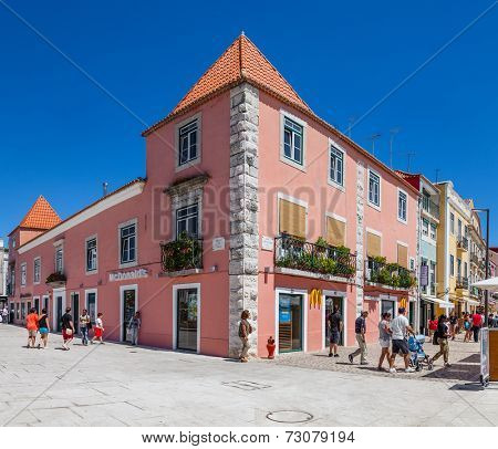 Lisbon, Portugal. August 24, 2014: The Belem McDonalds fast-food restaurant in Lisbon. This McDonalds restaurant is located in a World Heritage area full of tourists