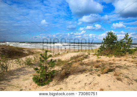 Baltic sea sand dunes and white clouds, Baltic coast Poland.