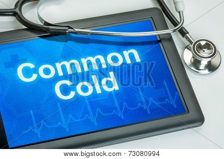 Tablet with the text Common Cold on the display