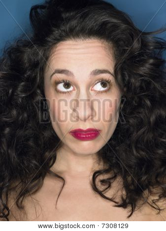 Woman with Big Hair in studio head and shoulders