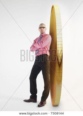 Man In Glasses Leaning Against Giant Coin, Digital Composite