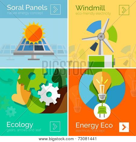 Eco-friendly energy flat design concepts, banners. Solar panels and sun, windmill, Earth and light bulb