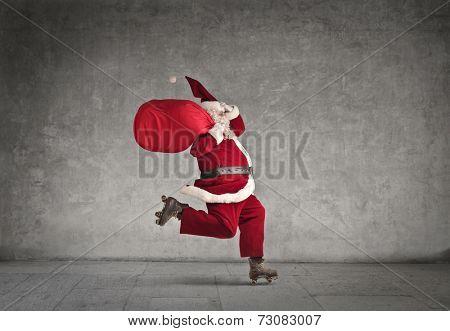 Santa Claus skating fast