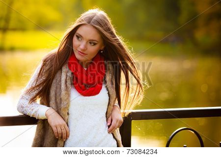 Portrait Girl Relaxing Walking In Autumnal Park.