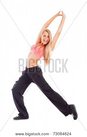 Young happy dancing woman isolated on white.