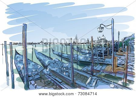 Venice. Quay Piazza San Marco. Gondolas on the water.Vector drawing. Eps10