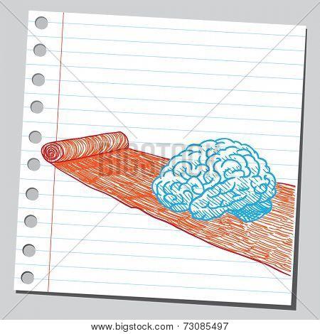 Brain on red carpet