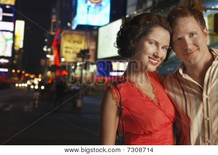 Young Couple in City at Night close up