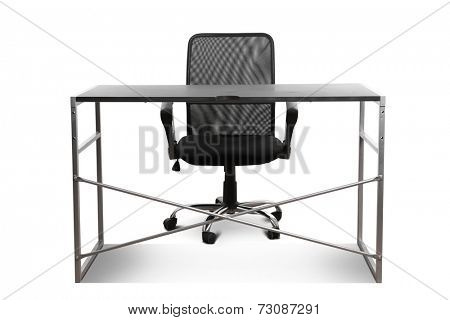 black table and chair isolated on white background