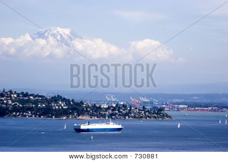 Mt. Rainier Above Shipping Lanes