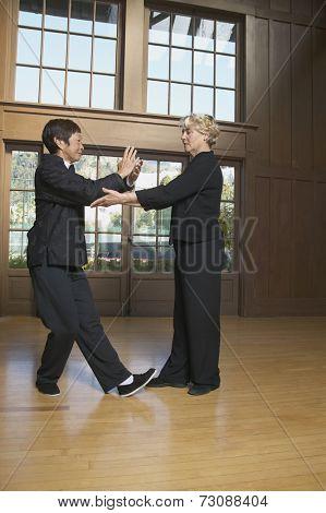 Two senior women practicing Tai Chi