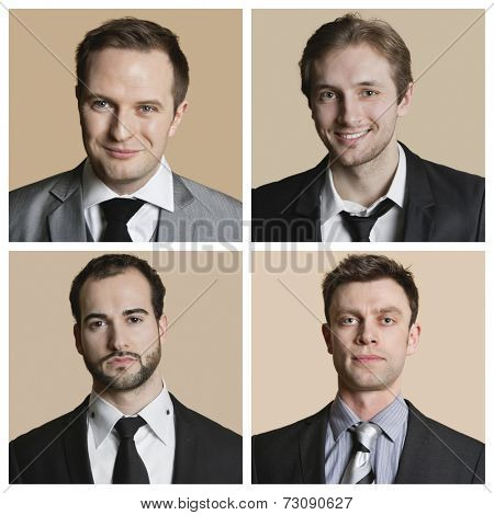 Collage of confident businessmen over colored background