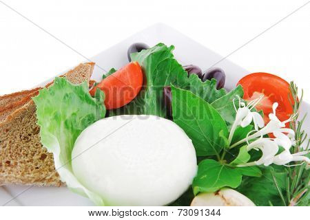 salad and low fat cheese on white plate