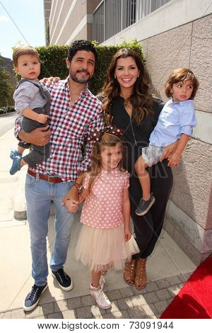 LOS ANGELES - SEP 28:  Alejandro Gomez Monteverde, Ali Landry; Valentin , Estela and Marcelo Monteverde at the 3rd Annual Red CARpet Safety at Skirball Center on September 28, 2014 in Los Angeles, CA
