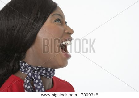 Woman with Mouth Open close-up side view