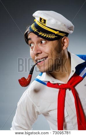Funny captain sailor wearing hat