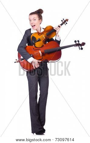 Funny woman playing violin isolated on the white