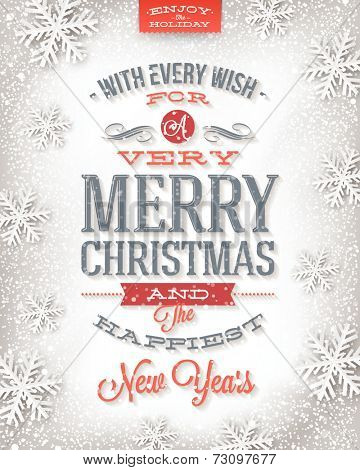 Vector Christmas greeting card - holidays type design on a winter snow background