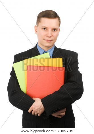 Businessman With Colored Folders