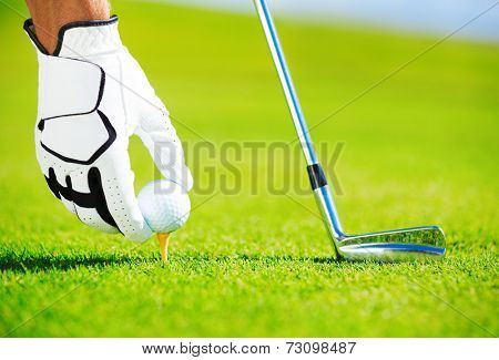 Man Placing Golf Ball on the Tee, Close up Detail
