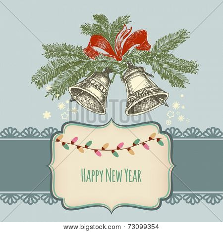 Happy new year card, jingle bells and frame for text
