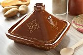 image of tagine  - Moroccan square tagine in the kitchen - JPG