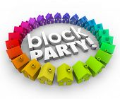 stock photo of gathering  - Block Party words in 3d letters in a neighborhood or circle of houses to illustrate a community celebration - JPG