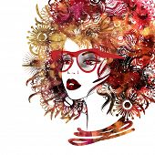 stock photo of kinky  - art sketched beautiful girl face profile with eyeglasses and curly hairs  in colorful graphic isolated on white background - JPG