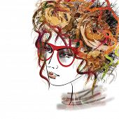 picture of kinky  - art sketched beautiful girl face with eyeglasses and curly hairs  in colorful graphic isolated on white background - JPG