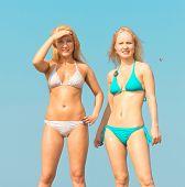 image of denude  - In Bikini on a Beach Joy - JPG