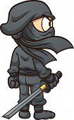 stock photo of ninja  - Cartoon ninja seen from behind - JPG