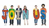 foto of joining  - Group of People Holding Letters  - JPG