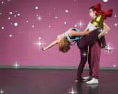 stock photo of break-dance  - Cool break dancing couple dancing together against golden bell with red ribbon - JPG